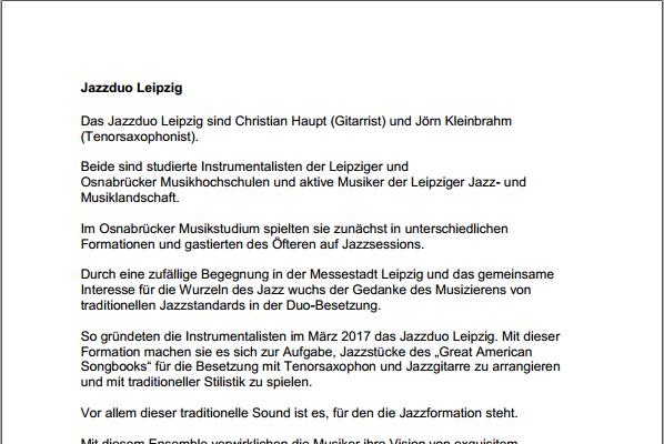 Jazzduo-Leipzig-Bandbeschreibung